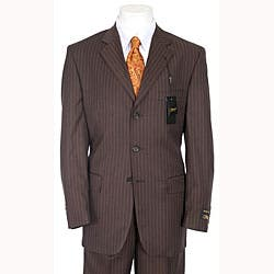 superior quality info for website for discount Shop Ferrecci Men's Chocolate Brown Pinstripe Suit - Overstock ...