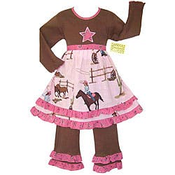 Annloren Boutique Girl's Cowgirl and Horses 2-piece Set|https://ak1.ostkcdn.com/images/products/P12098270.jpg?impolicy=medium