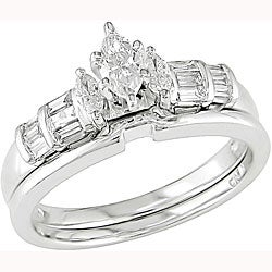 Miadora 14k White Gold 1/2ct TDW Diamond Bridal Set (H-I, SI2)