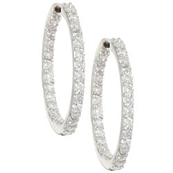 Kabella 14k White Gold 1ct TDW Inside-out Hoop Earrings (H-I, I1)