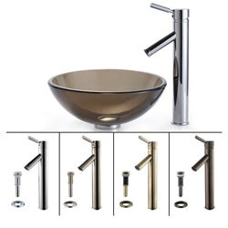 KRAUS Glass Vessel Sink in Brown with Single Hole Single-Handle Sheven Faucet in Satin Nickel