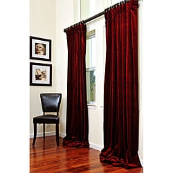 Thumbnail 1, Exclusive Fabrics Signature Maroon Wine Velvet 96-inch Curtain Panel.