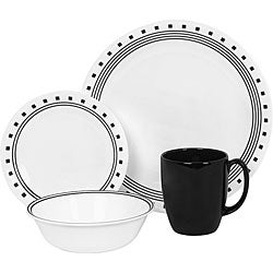 Corelle Livingware City Block 16-piece Dinnerware Set  sc 1 st  Overstock.com : white and black dinnerware - pezcame.com