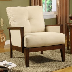 Thumbnail 1, Caney Beige Microfiber Accent Chair.