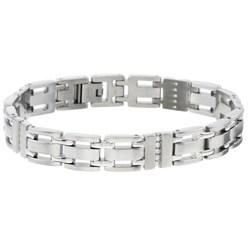 Unending Love Stainless Steel 1/2ct TDW Diamond Men's Bracelet (I-J, I2-I3)