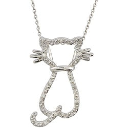 Thumbnail 1, Sterling Silver 1/10ct TDW Diamond Cat Necklace.