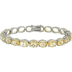Glitzy Rocks Sterling Silver 33 TGW Citrine Bracelet