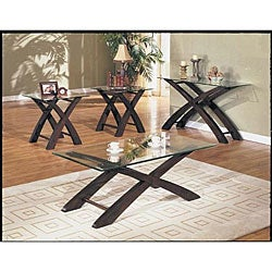 shop pablo 3 piece glass top coffee and end table set free shipping today overstock 4107396. Black Bedroom Furniture Sets. Home Design Ideas