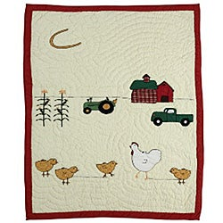 Chicken Story Baby Crib Quilt - Thumbnail 0