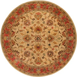 Hand-tufted Coliseum Beige/Red Traditional Border Wool Rug (8' Round)