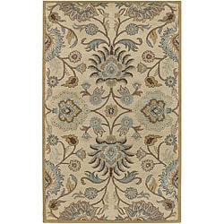 Hand-tufted Coliseum Beige Wool Rug (7'6 x 9'6)