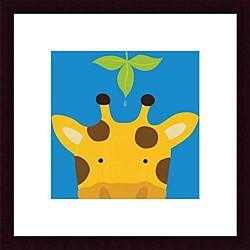 Yuko Lau 'Peek-a-Boo Giraffe' Wood Framed Art Print