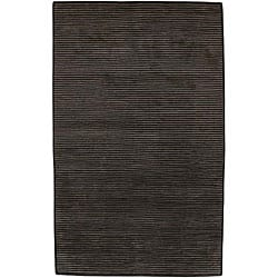 Hand-knotted Solid Brown Casual Karur Semi-Worsted Wool Runner (2'6 x 10)