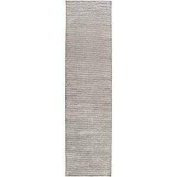 Hand-knotted Solid Grey Casual Karur Semi-Worsted Wool Rug (2'6 x 10)