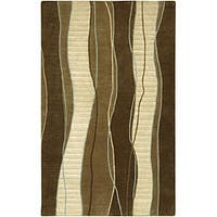 """Hand-knotted Contemporary Brown/White Stripe Karur New Zealand Wool Area Rug - 2'6"""" x 10'"""