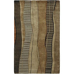 Hand-knotted Brown Stripe Contemporary Ronse Wool Abstract Rug (2'6 x 10')