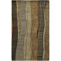 Hand-knotted Brown Stripe Contemporary Ronse Wool Abstract Area Rug (2'6 x 10')