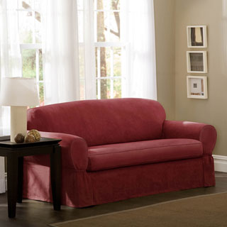 Maytex Piped Red/Brown/Sage Suede 2-piece Sofa Slipcover