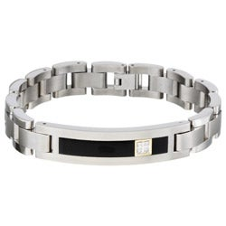 Men's Titanium and 14k Gold Onyx and Diamond Bracelet (12.5 mm)