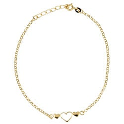 Sterling Essentials 14K Gold over Silver Triple-heart Anklet