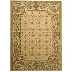 Safavieh Beaches Natural/ Olive Green Indoor/ Outdoor Rug (4' x 5'7)