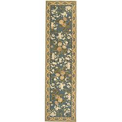 Safavieh Hand-hooked Floral Blue Wool Runner (2'6 x 12')