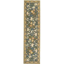 Safavieh Hand-hooked Floral Blue Wool Runner (2'6 x 6')