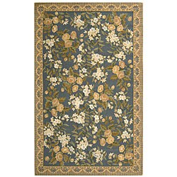 Safavieh Hand-hooked Floral Blue Wool Rug (3'9 x 5'9)