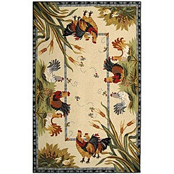 Safavieh Hand-hooked Roosters Ivory Wool Rug (6' x 9')