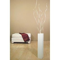 White 27-inch Floor Vase and Palm Twist