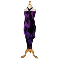 Hibiscus Purple/ Black Sarong (Indonesia)