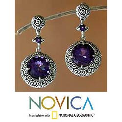 Sterling Silver 'Moonlight Dazzle' Dangle Earrings (Indonesia)