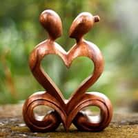 Wood 'One Heart' Sculpture, Handmade in Indonesia