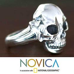 Sterling Silver Men's 'Lunar Skull' Ring (Indonesia)