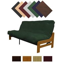 Boston Medium Oak Finish Full Armless Frame Futon Set Sleeper Bed