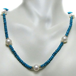 Freshwater Pearl and Turquoise Necklace (10-11 mm)