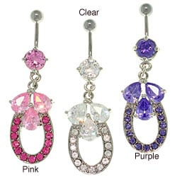 Carolina Glamour Collection Stainless Steel Crystal Horseshoe/ Teardrops 14-gauge Belly Ring