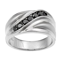 Unending Love Stainless Steel Men's 1/2ct TDW Black Diamond Ring