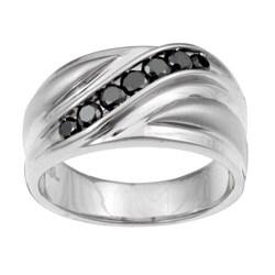 Unending Love Men's Stainless Steel 1/2 ctw Black Diamond Wedding Band