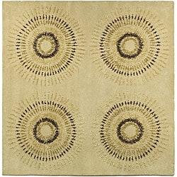 Safavieh Handmade Deco Explosions Beige/ Multi N. Z. Wool Rug (6' Square)