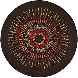 Safavieh Handmade Deco Explosions Brown/ Multi N. Z. Wool Rug (4' Round)