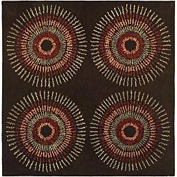 Safavieh Handmade Deco Explosions Brown/ Multi N. Z. Wool Rug (6' Square)