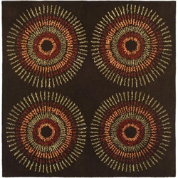 Safavieh Handmade Deco Explosions Brown/ Multi N. Z. Wool Rug (8' Square)