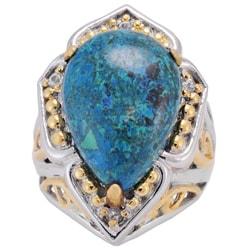 Michael Valitutti Sterling Silver/ 18k Vermiel Chrysocolla/ Sapphire Ring