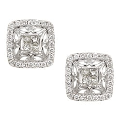 Eloquence 14k White Gold 7/8ct TDW Diamond Framed Earrings (K, SI1-SI2)