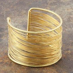 Thumbnail 1, Goldtone Brass and Wire Cuff Bracelet (India).