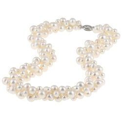 DaVonna Sterling Silver 4 -8 mm White Freshwater Pearl  3-row Twisted Necklace 18""