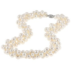DaVonna Sterling Silver 4 -8 mm White Freshwater Pearl 3-row Twisted Necklace 18