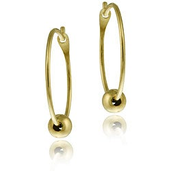 Mondevio 14k Gold Ball Hoop Earrings