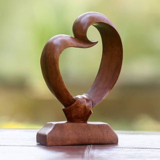Heart Bond Handcrafted Modern Art Work Signed by Artisan Suitable for Wedding Gift Unique Decorator Wood Sculpture (Indonesia)